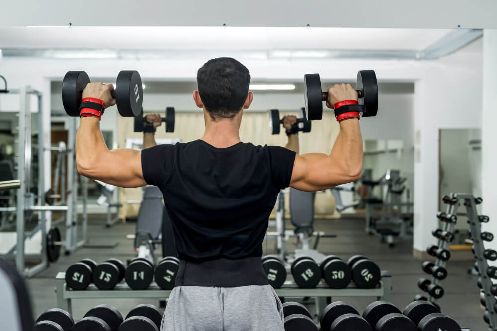 overhead press with dumbbells